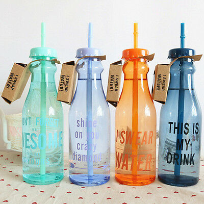 Portable Sport Travel Plastic Fruit Juice Water Bottle Cup with Straw SPUS