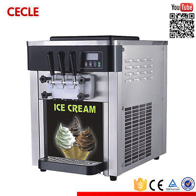 Commercial Soft Ice Cream Machine 2+1mix Flavors Air Cooled 25L/H 220V BQL-825B