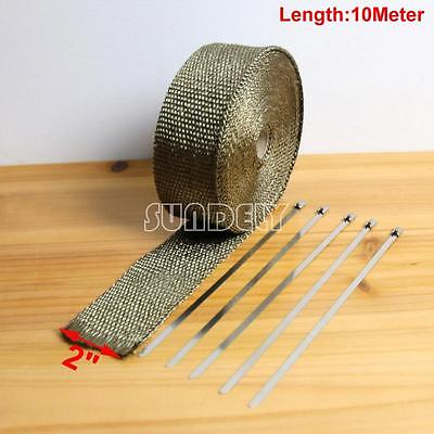 "2"" x 10M Exhaust Thermal Heat Wrap Manifold Downpipe Motorbike Kit Car Titanium"