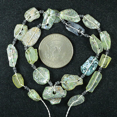 Ancient Roman Glass Beads 1 Medium Strand Aqua And Green 100 -200 Bc 497