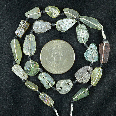 Ancient Roman Glass Beads 1 Medium Strand Aqua And Green 100 -200 Bc 498