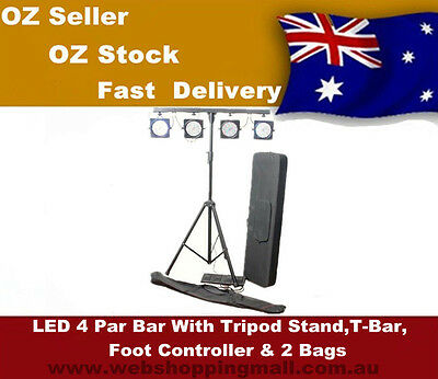 LED  Parcan  Lights With Tripod, Bar , Foot Controller. Leads  & Bags