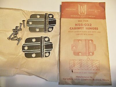 Vintage National Lock N58-032 CHROME Cabinet Door Hinges WHITE Lines