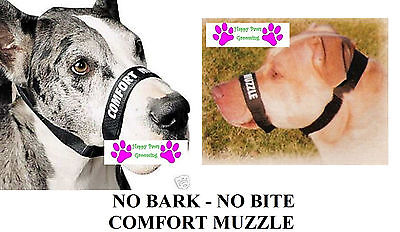 DOG GROOMING TRAINING No Bark No Bite Comfort Easy Fit Adjustable Muzzle*2 SIZES