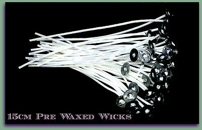 Pre Waxed Candle Wicks with Sustainer Tab - 150mm x 2mm - Pack of 20 / 50 / 100