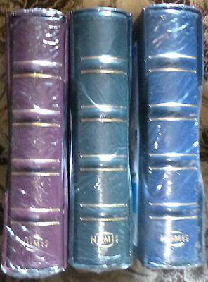 NUMIS CLASSIC COIN HOLDER ALBUM & SLIPCASE with 15 PAGES - BLUE COLOUR