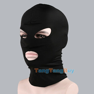 Black Spandex Hood Open Mouth & Eyes 3 Holes Stretchy Face Mask