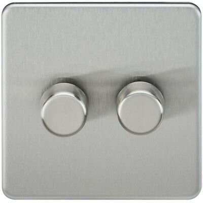 Knightsbridge SF2162BC - 2G 2 Way Screwless Dimmer Switch 60-400W Brushed Chrome