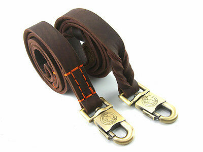 HAND MADE HEAVY DUTY BROWN SOFT LEATHER WITH SAFE lOCK DOG LEASH LEADS TRAINING