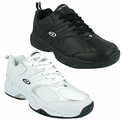 Hi Tec Mens Leather Lace Up Casual Sports Gym Trainers Shoes Black White Argon