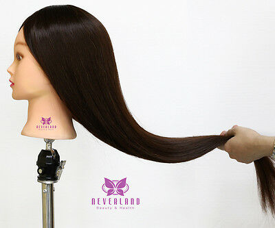 """2016 26"""" 30% Hairdressing réel Human Hair Formation Mannequin Head Clamp PC 4#"""