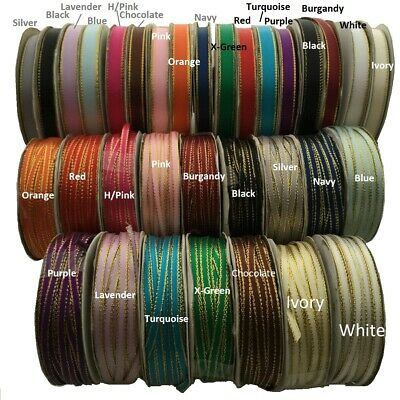 3mm, 10mm Satin Ribbon  With Gold Edge 2meter