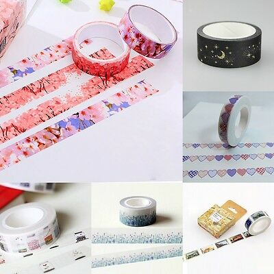 Glitter Moon Star Washi Sticky Paper Masking Adhesive Tape Label DIY Craft Decor