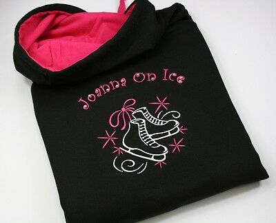 Girls Adults Personalised Embroidered Ice Figure Skating Hoodie with Crystals