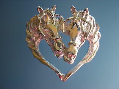 DRIVING HORSE IN HARNESS  HEART JEWELRY Platinum plated necklace