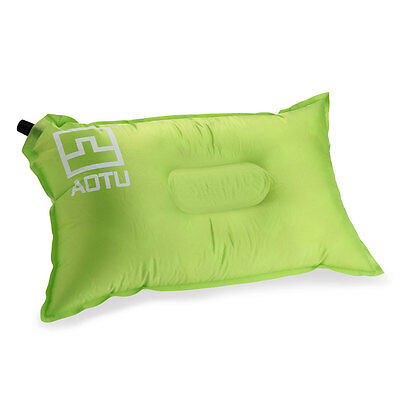 Self-Inflating Air Pillow Cushion Green for Oudoor Camping Hiking