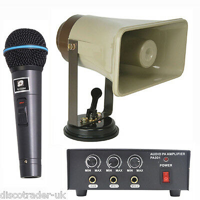 PA SYSTEM FOR VEHICLE 12v AMP + HORN + MICROPHONE - ELECTION OUTDOOR EVENT