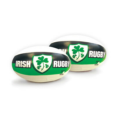 """6"""" Ireland Green, White & Black Rugby Ball With Shamrock Shield"""