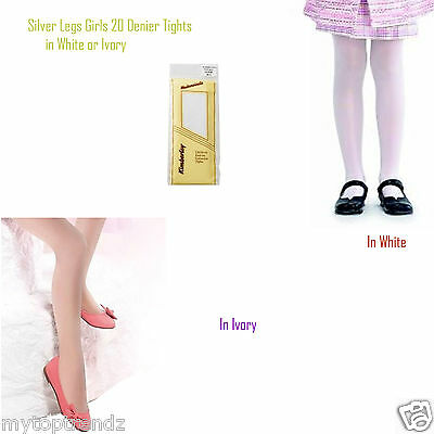 Kids Girls Sheer Plain Tights Bridesmaid & Special Occasion White/ Ivory Tights