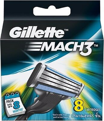 Gillette Mach 3 Cartridges 8 12 16 24 36 Razor Blades Shaving  Genuine Mach3