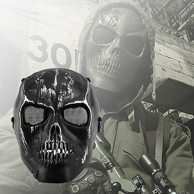 Black Skull Skeleton Full Face Mask Tactical Airsoft Paintball Protection Safety