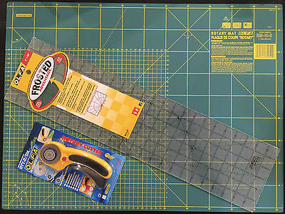 Olfa Set Cutting Mat 24'' X 18' +Rotary Cutter Rty-2/Dx + Frosted Ruler 6''X24''