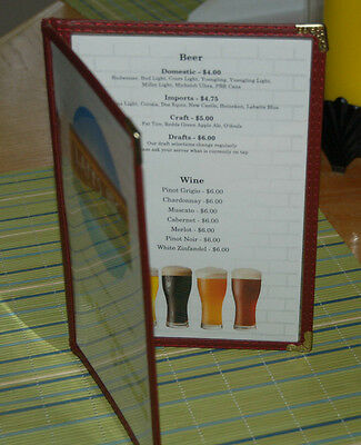 Menu covers 5.5 x 8.5 Half Letter, Doubled sided pockets. Burgently, gold trim
