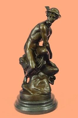 Grand Tour  Italian SEATED MERCURY Bronze Statue Mounted on Marble Base Sculptur