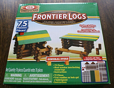 Ideal Frontier Logs Classic All Wood 75-Piece Construction Set Building