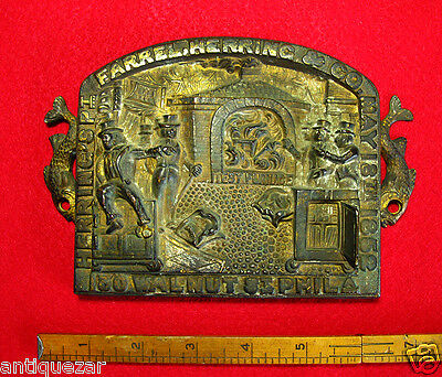 CLEARANCE!  Antique Farrel Herring & Co Fireproof Safe Old Bronze Plaque 1852 @