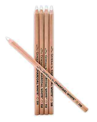 4 White Charcoal Pencils For Art Graphics Sketching Design Drawing Class