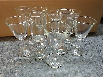 "Cordial Liquor Stemware Lot Of 9 Glasses 3.5"" To 4.25"" Jagermeister-2 Etched"