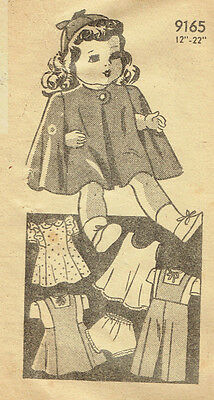 "9165 Vintage Marian Martin Chubby Doll Pattern Size  18""--Year 1940"