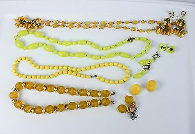 Lot of Vintage Costume Jewelry Pastel Plastic Beads 4 necklaces Earrings Clip on