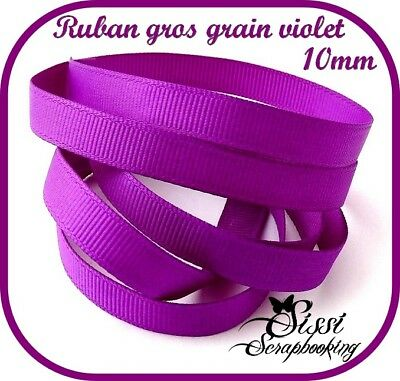 RUBAN GROS GRAIN VIOLET UNI SCRAPBOOKING COUTURE 10mm
