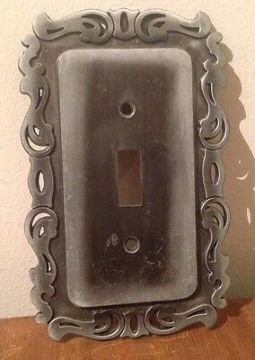 General Electric Single Toggle Light Switch Cover Vintage 1974 Silver Metal
