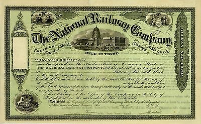 Stock Certificate - The National Railway Co. –Graphic Appeal 18__.