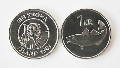 Iceland 1996 & 1999 1 Krona 2 Coin Uncirculated Set (KM27a)