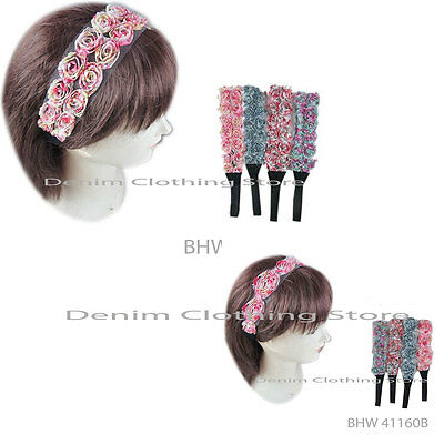 Lot Of 6 Women Fashion Floral rosette mesh stretch head wrap w/elastic Headband