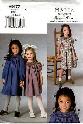 Vogue Sewing Pattern V9177 9177 Girls Smocked Dress Smocking Bishop Neck 2-5 6-8