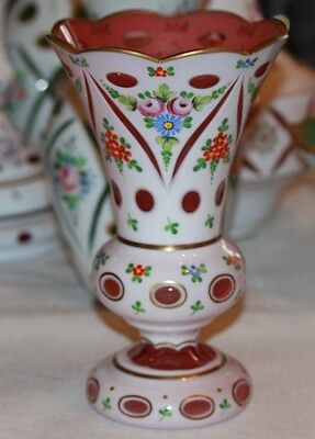 Vintage BOHEMIAN CZECH Cased Glass White Overlay Cut to Red Hand Paint 8 in VASE