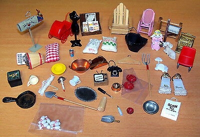 Large Very Nice Lot of Dollhouse Items - Metal, Wood & More - Must See!