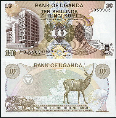 Attractive Older Uganda Paper Money Great Animal Banknote Currency P-11 - Unc!