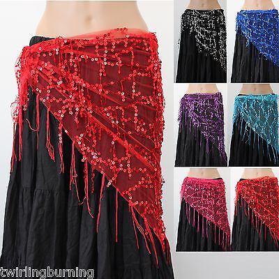 Sequined Triangle Hip Scarf Wrap Shawl Belly Dancing 6 Colours 160cm Long  AB09