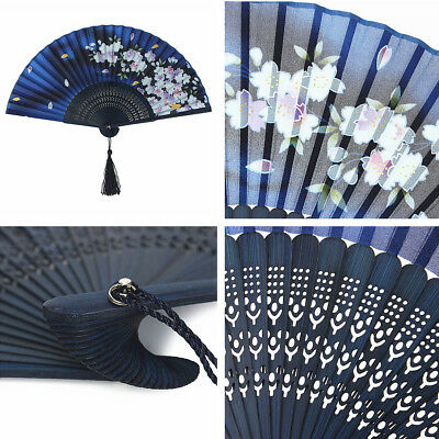 New Chinese Japanese Folding Flower Silk Bamboo Hand Fan Dance Wedding Party US
