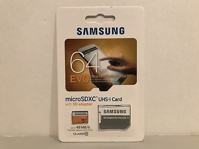 Samsung EVO 64GB  Micro SDXC UHS-1 Card with SD adapter BRAND NEW SEALED!