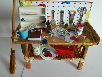 (G4.8) Dolls House Handmade Tool Bench With Accessories