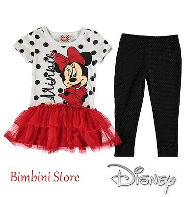 Completo due pezzi  minnie originale disney leggings e t-shirt 5 6 7 8 9 10 11