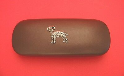 Border Terrier Pewter Motif On Brown Solid PU Glasses Case Mother Father Gift
