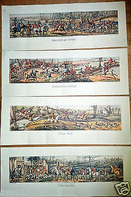 4 V Large Long Antique Vintage Fox Hunting Equine Horse Racing Sporting Prints